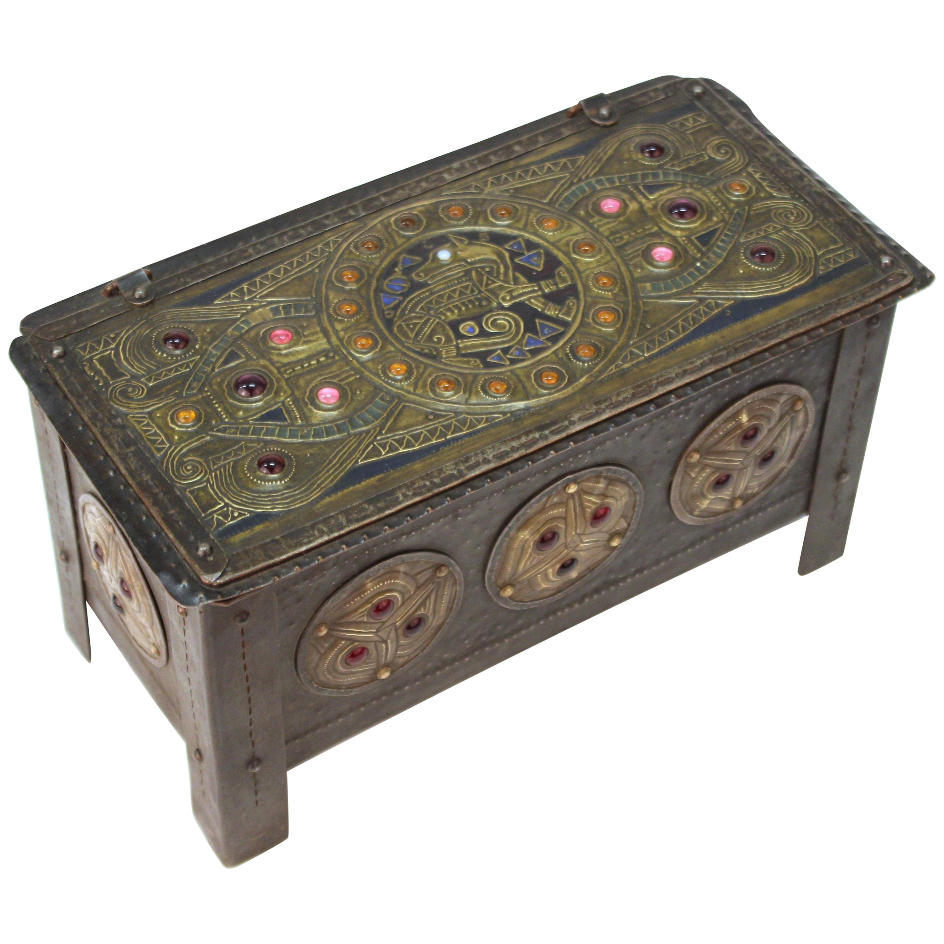 Alfred Daguet French Art Nouveau Jeweled Metal Repousse Box
