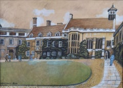Alfred Daniels Christ's College Cambridge 1977 Gouache Painting naive