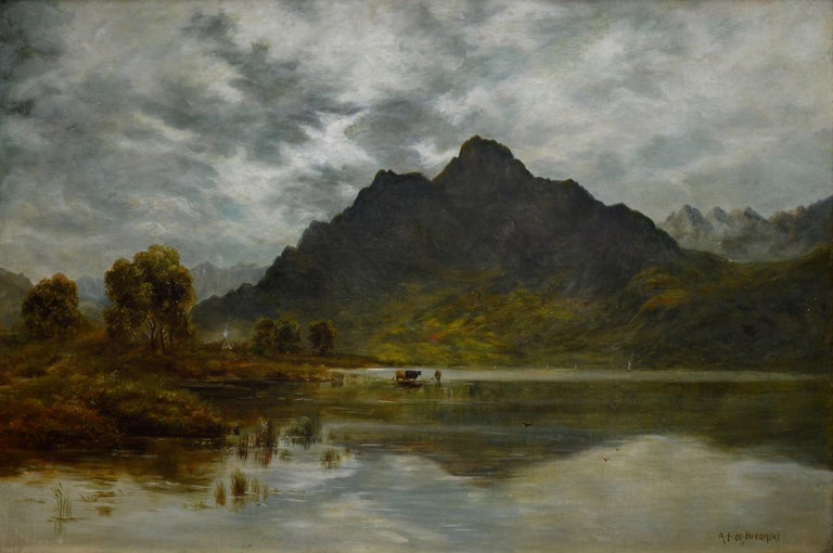 This is a large fine early 20th century landscape oil on canvas depicting a summer evening on Loch Ness in the Scottish Highlands by the celebrated English landscape artist Alfred de Bréanski Jnr. (1877-1945). 'Twilight, Loch Ness' is signed by the
