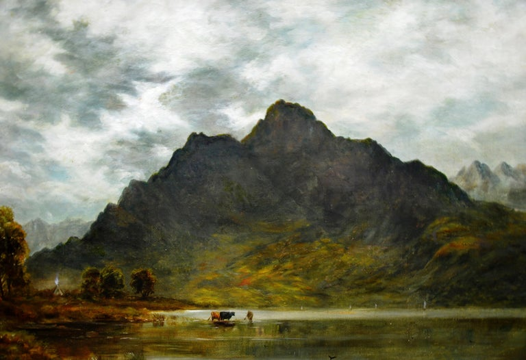 Twilight, Loch Ness - 19th Century Oil Painting Nocturne of Scottish Highlands For Sale 1