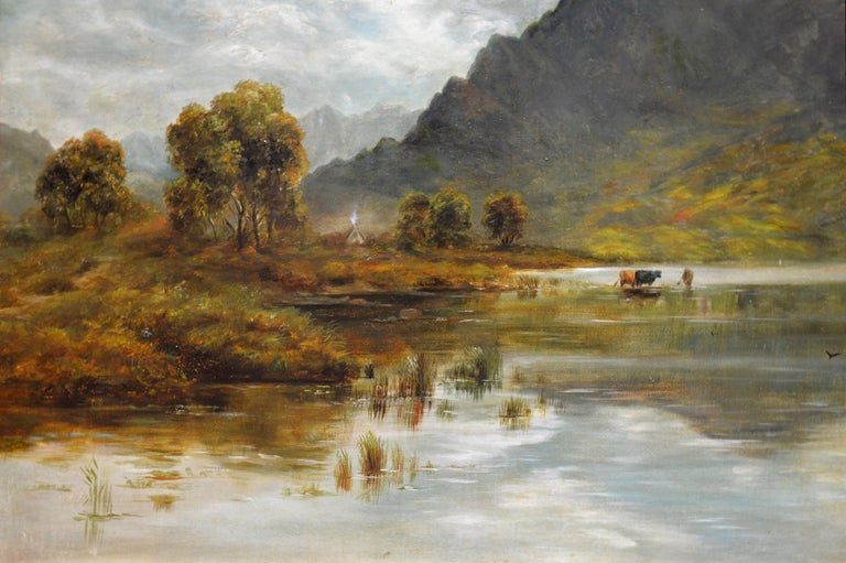 Twilight, Loch Ness - 19th Century Oil Painting Nocturne of Scottish Highlands For Sale 5
