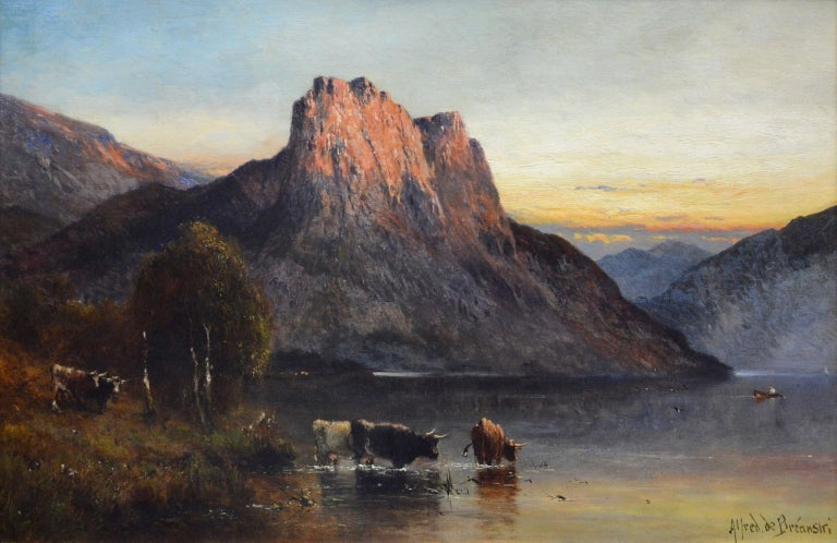 A very large fine 19th century oil on canvas depicting the famous Falcon Craig (or crag) at Derwentwater in the English Lake District by the eminent Victorian landscape painter Alfred de Bréanski Snr. (1852-1928). The painting is signed by the