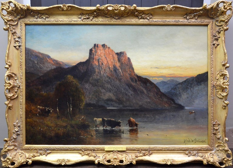 Alfred de Breanski Sr. Animal Painting - Falcon Craig, Derwentshire - Large 19th Century Landscape Oil Painting