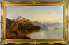 Large scale 19th Century landscape oil painting of Windemere Lake