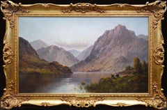 Loch Lomond - Very Large 19th Century Scottish Highlands Landscape Oil Painting