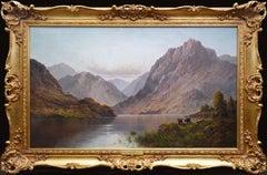 Loch Lomond - Very Large 19th Century Scottish Highlands Landscape Oil Painting
