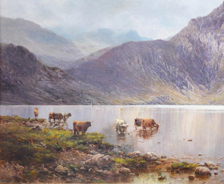 'Lochnagar' by Alfred de Breanski ARCA (1852 - 1928). This large fine 19th century oil painting of the Scottish Highlands is signed by the artist and hangs in a superb quality, newly commissioned, gold metal leaf frame.    As with all of the