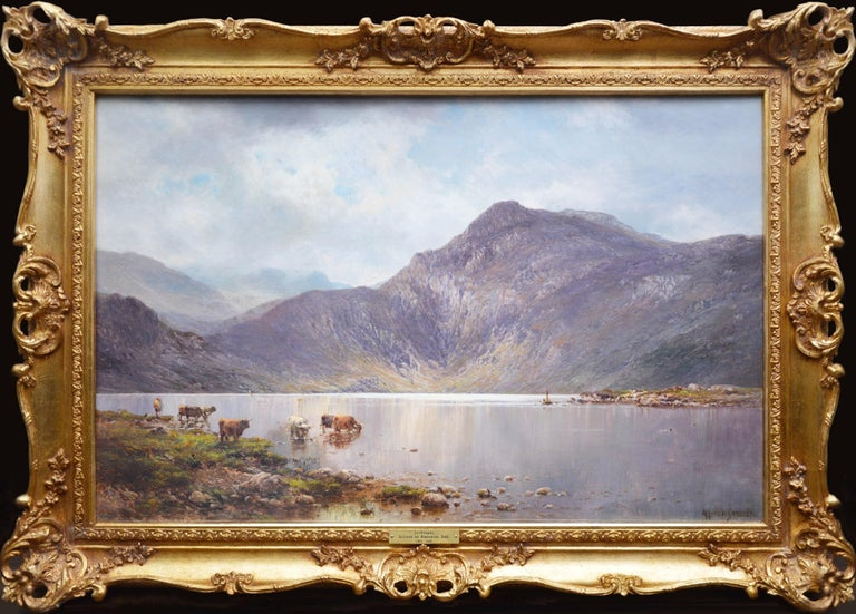 Alfred de Breanski Sr. Animal Painting - Lochnagar - 19th Century Landscape Oil Painting of the Scottish Highlands