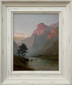 Mountain Landscape Painting of Scottish Highlands by 19th Century British Artist