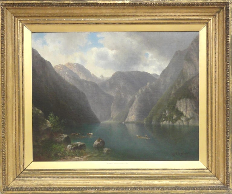 Mountain Valley  - Painting by Alfred de Breanski Sr.