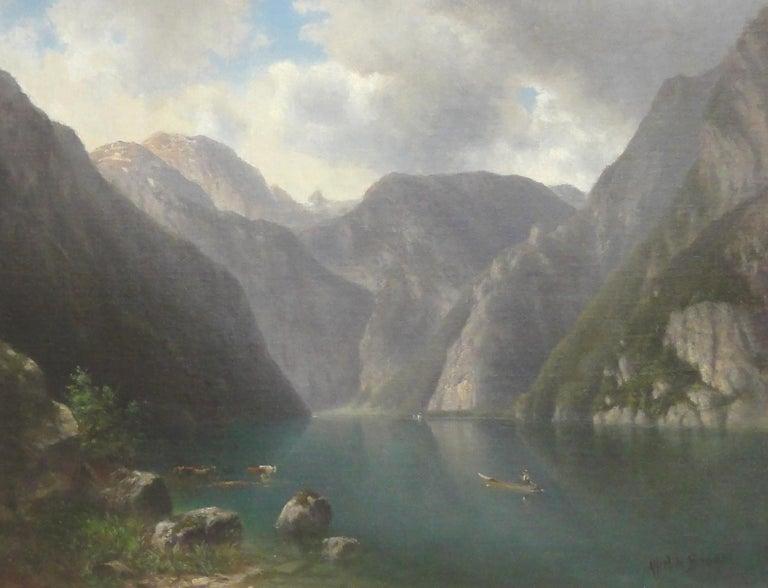 Alfred de Breanski Sr. Landscape Painting - Mountain Valley