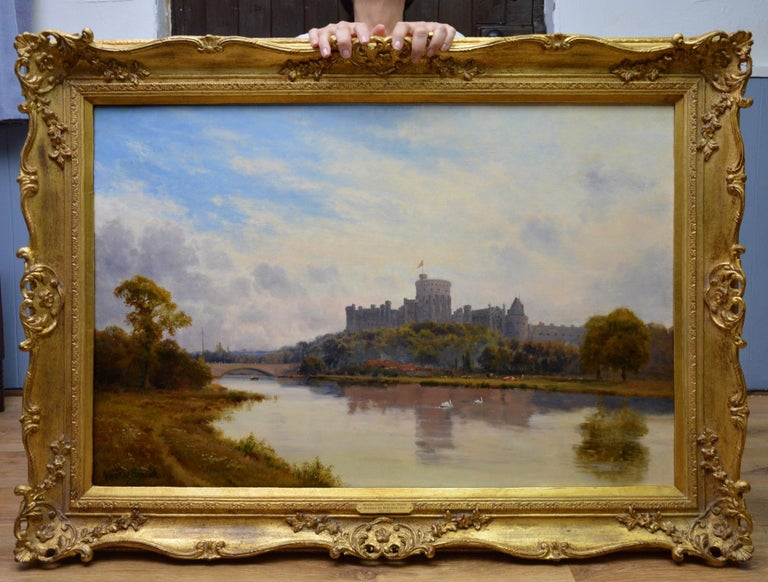 Windsor Castle from the Thames - 19th Century Royal Victorian River Landscape - Painting by Alfred de Breanski Sr.