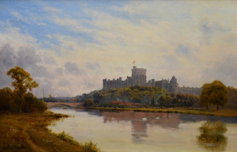 This is a very large fine 19th century oil on canvas depicting a spectacular view of 'Windsor Castle from the Thames' by the important Victorian landscape painter Alfred de Bréanski Snr. (1852-1928). The painting is signed by the artist and sold in