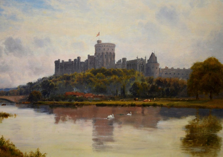 Windsor Castle from the Thames - 19th Century Royal Victorian River Landscape For Sale 1
