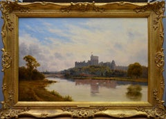 Windsor Castle from the Thames - 19th Century Victorian River Landscape Breanski