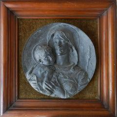Mary Jesus 19th Century Pewter Sculpture A Lanson Madonna c1881 Grand Tour