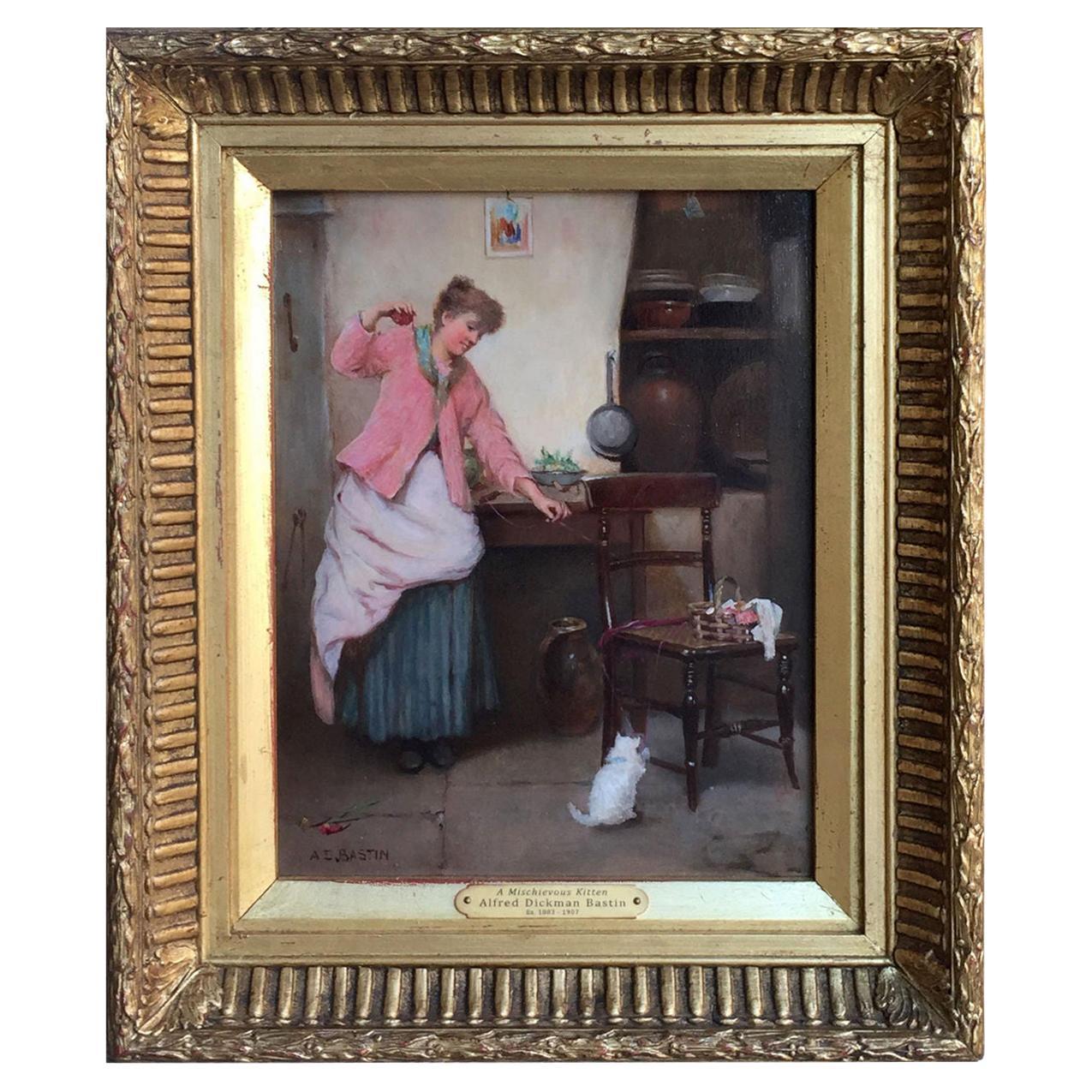Alfred Dickman Bastin Oil Cat Painting Mischievous Kitten Gilt Frame