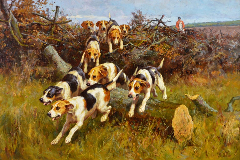 19th Century landscape sporting oil painting of dogs hunting - Painting by Alfred Duke