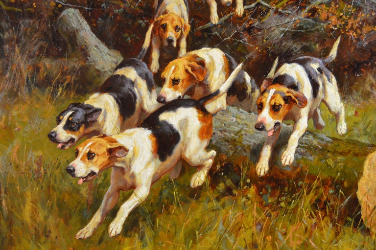 19th Century landscape sporting oil painting of dogs hunting - Victorian Painting by Alfred Duke