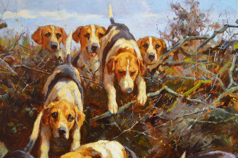 19th Century landscape sporting oil painting of dogs hunting - Brown Landscape Painting by Alfred Duke