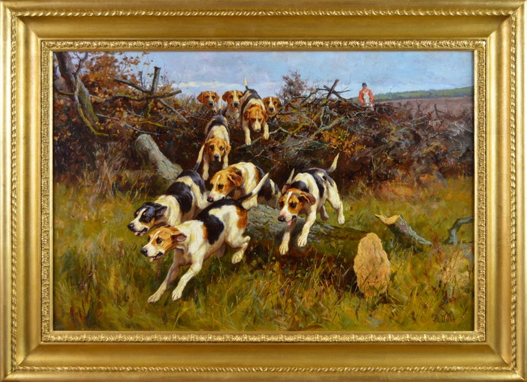 Alfred Duke Landscape Painting - 19th Century landscape sporting oil painting of dogs hunting
