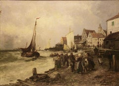 """Alfred Dumont (SWISS, 1828 - 1894) """"The boat harbor"""" oil on canvas. 19th century"""