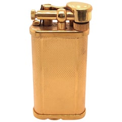 Alfred Dunhill Gold Plate Barley Design Unique Butane Table Lighter