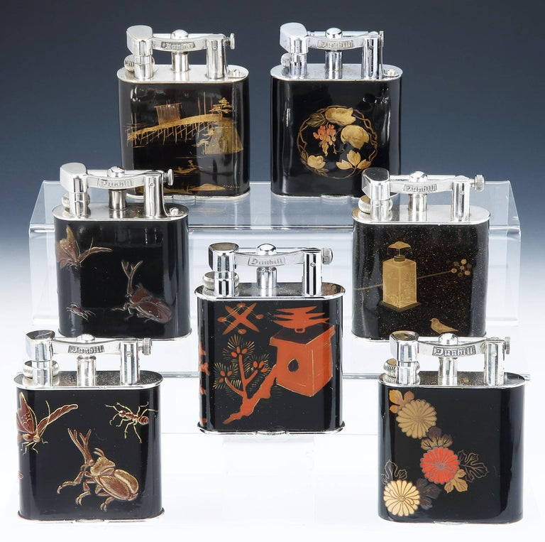 Anglo-Japanese Alfred Dunhill 'Namiki' Enamel Table Lighter, 1930s
