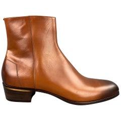 ALFRED DUNHILL Size 13 Cognac Antique Leather Side Zipper Duke Boots