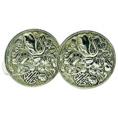Alfred Dunhill Sterling Silver Animal Themed Round Cufflinks
