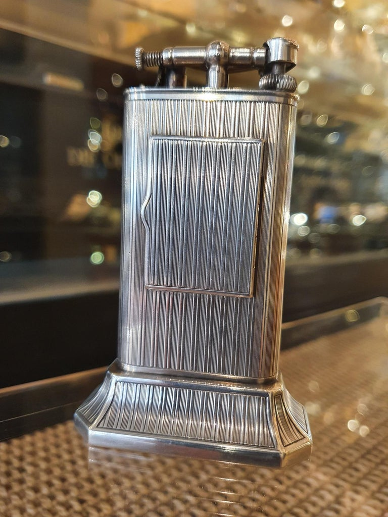 Art Deco Alfred Dunhill Sterling Silver 'Club Clock' Lighter, 1929 For Sale
