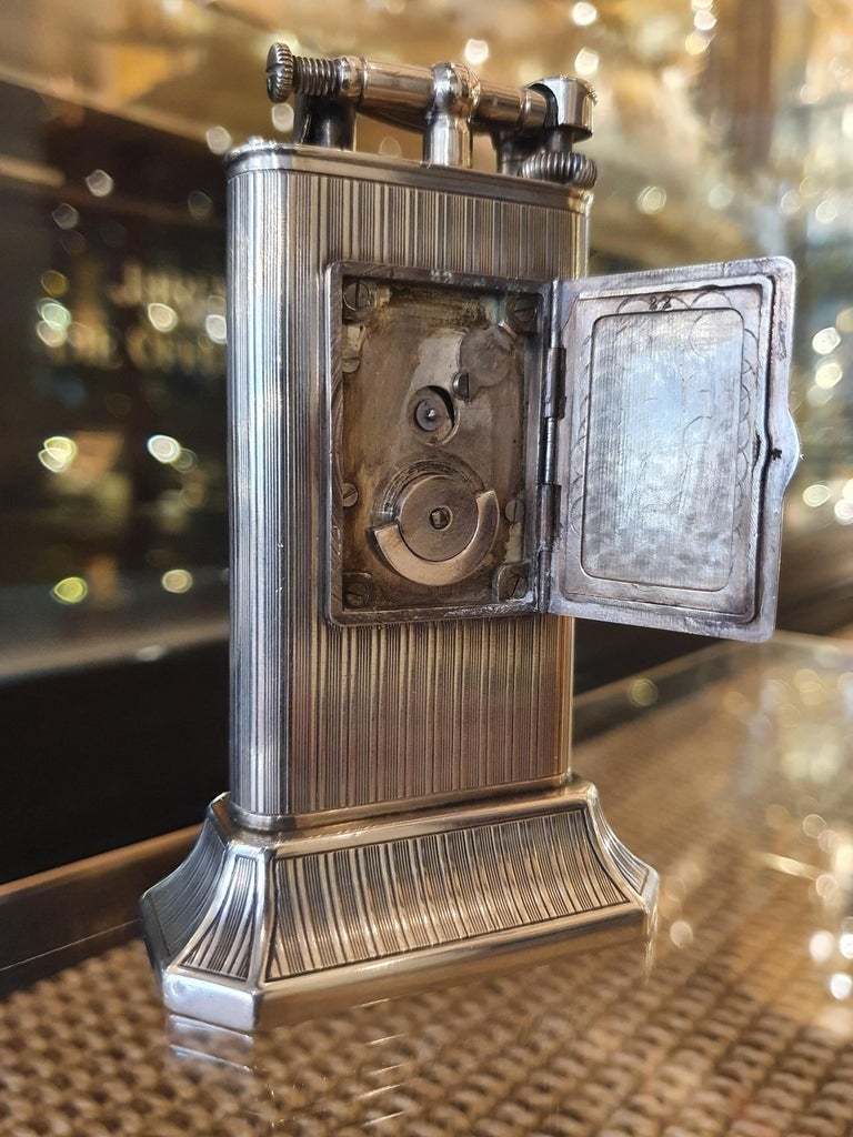 English Alfred Dunhill Sterling Silver 'Club Clock' Lighter, 1929 For Sale