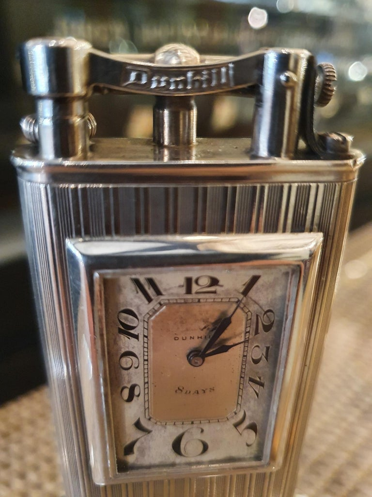 Engraved Alfred Dunhill Sterling Silver 'Club Clock' Lighter, 1929 For Sale