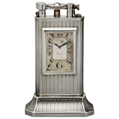 Alfred Dunhill Sterling Silver 'Club Clock' Lighter, 1929