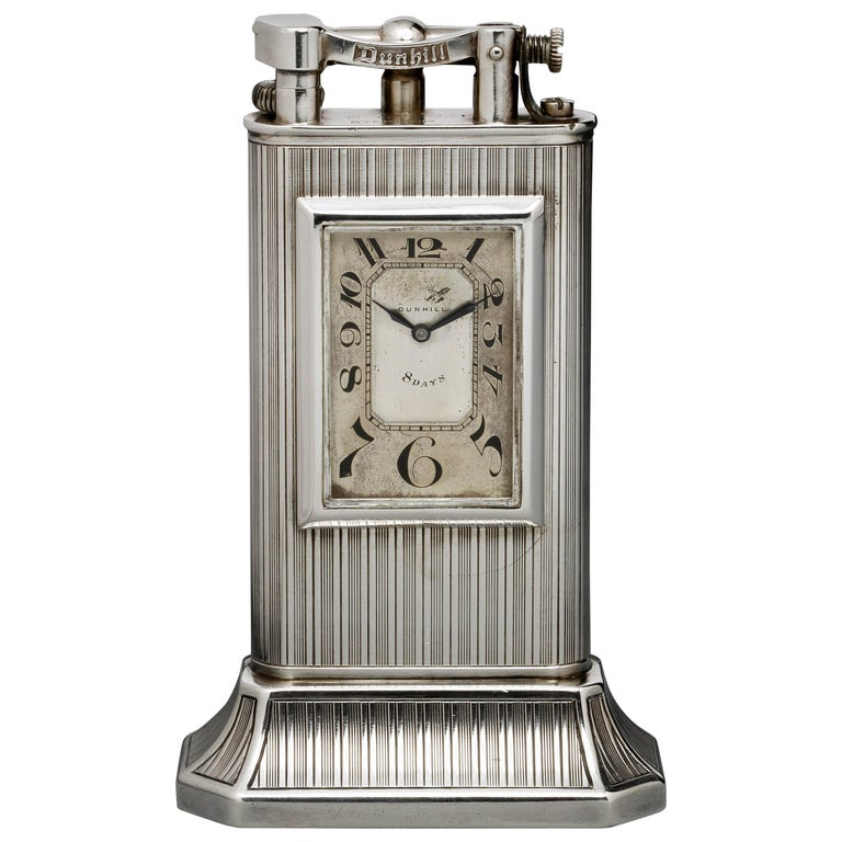 Alfred Dunhill Sterling Silver 'Club Clock' Lighter, 1929 For Sale