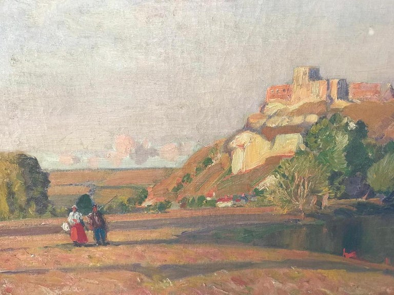 Sir Alfred East RA (1844-1913) Château Gaillard, on the Seine oil on canvas Signed 71 x 91cm (27 15/16 x 35 13/16in)  Sir Alfred East was born in1844 in Kettering, Northamptonshire and studied at the Glasgow School of Art. His romantic landscapes