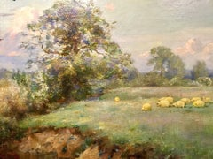Grazing Sheep An English Landscape 20th Century modern by Sir Alfred East RA