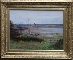 Hayle - Cornwall - British 19thC Impressionist oil painting estuary landscape