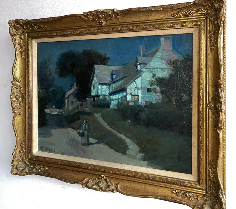 Moonlit Night in Blue - Moonlight - Barbizon painters - Black Landscape Painting by Alfred East