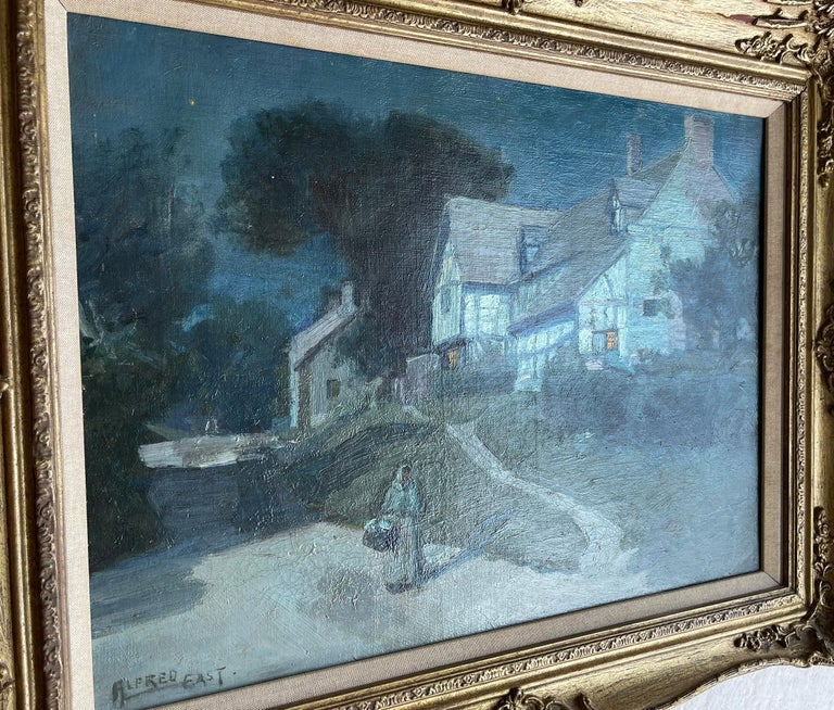 Sir Alfred East painted a series of moonlit landscapes that is reminiscent of the Barbizon school of painters, Corot, and some of the impressionists. This painting has two light sources. The moonlight and window light which is depicted by the artist