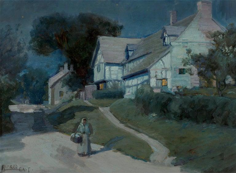 Alfred East Landscape Painting - Moonlit Night in Blue - Moonlight - Barbizon painters