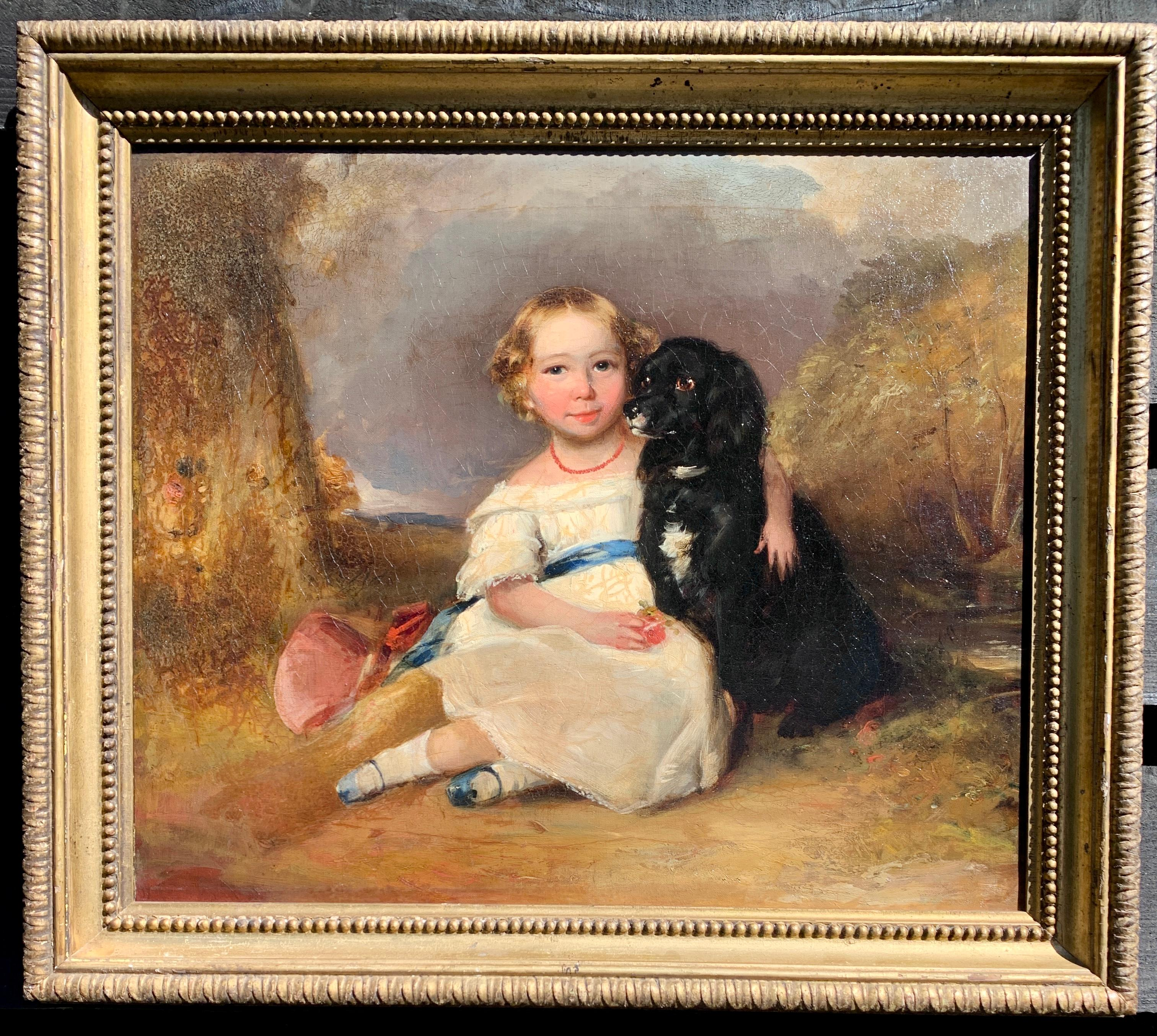 Early 19th century portrait of a young girl setting with her pet spaniel dog