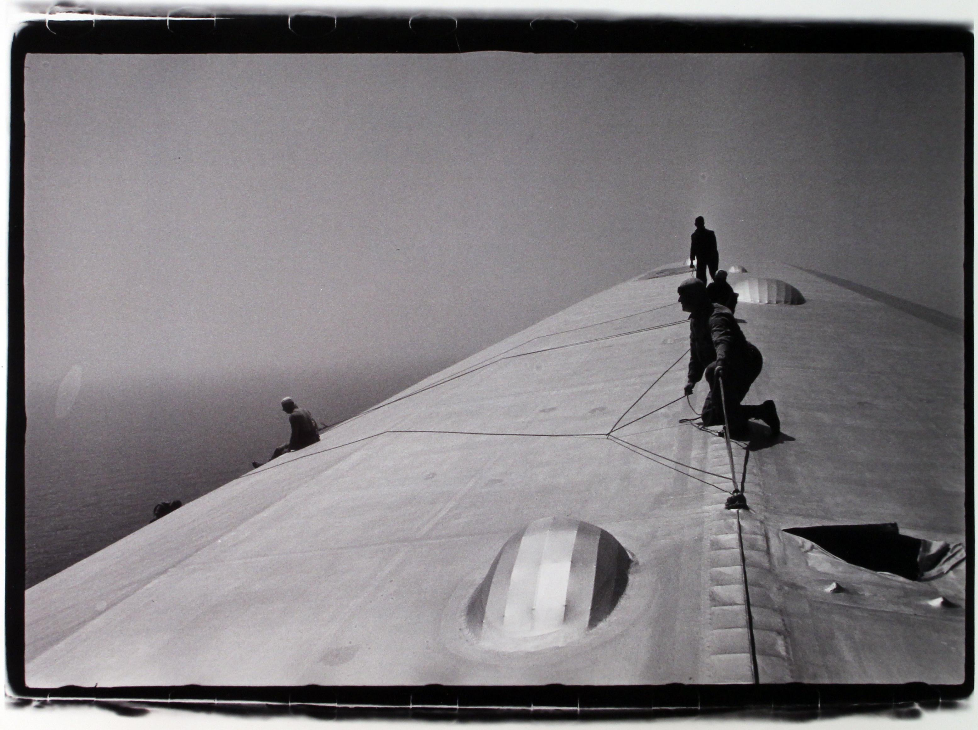 Repairing The Hull Of The Graf Zeppelin During The Flight Over The Atlantic