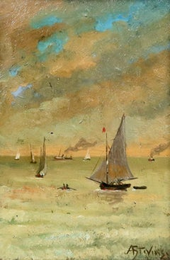 Bateaux sur la côte - 19th Century Oil, Boats in Seascape by Alfred Stevens