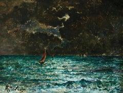 Effet de lune au bord de la Mer - 19th Century Oil, Night Seascape by A Stevens