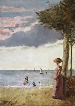 Elegante sur la Plage - 19th Century Oil, Figures by Sea Landscape by A Stevens