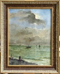"""Elegantes sur la Plage"" Stevens C.19th French Impressionist Figures in Seascape"
