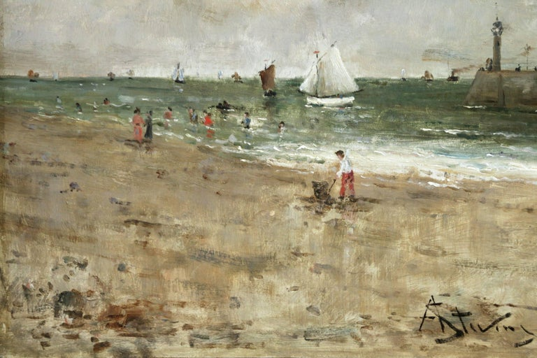 Figures on the Beach - Impressionist Painting by Alfred Émile Léopold Stevens