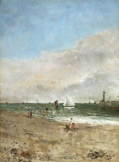Figures on the Beach - Realist Oil, Figures in Seascape by Alfred Stevens