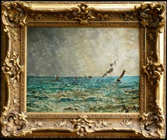 Steamers off the Coast - 19th Century Oil, Boats in Seascape by Alfred Stevens